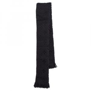 Louis Vuitton Black Logomania Wool & Silk Scarf