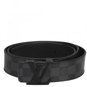 Louis Vuitton Black Damier Graphite Canvas Initiales Belt