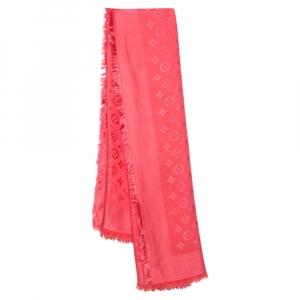 Louis Vuitton Coral Pink Silk Wool Monogram Denim Shawl