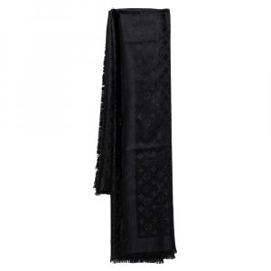 Louis Vuitton Black Silk Wool Monogram Shawl