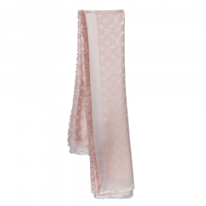 Louis Vuitton Pink Monogram Silk & Wool Denim Shawl