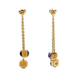 Louis Vuitton Gamble Crystal Gold Tone Drop Earrings