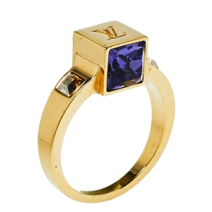 Louis Vuitton Gamble Crystal Gold Tone Ring Size L