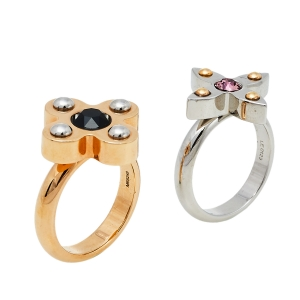 Louis Vuitton Two Tone Love Letter Timeless  Ring Set L