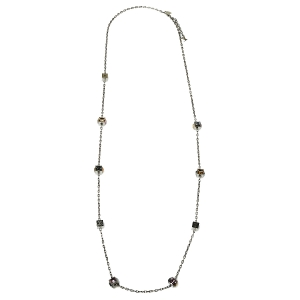 Louis Vuitton Gamble Crystal Silver Tone Long Necklace