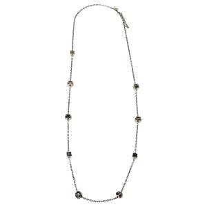 Louis Vuitton Gamble Crystal Silver Tone Long Necklace