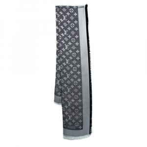 Louis Vuitton Black Wool & Silk Monogram Denim Square Shawl