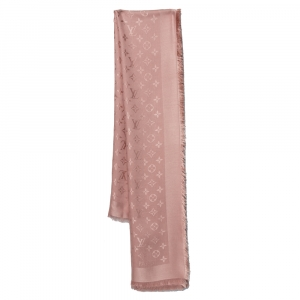 Louis Vuitton Light Pink Wool & Silk Monogram Square Shawl