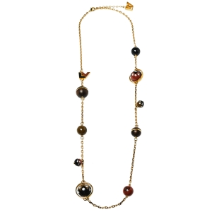 Louis Vuitton Crystal Resin & Wood Ball Charm Necklace
