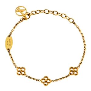 Louis Vuitton Gold Tone Flower Full Bracelet