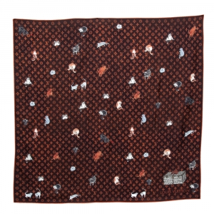 Louis Vuitton Brown Catogram Silk Square Scarf