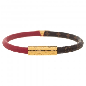 Louis Vuitton Red Leather and Monogram Canvas Daily Confidential Bracelet 17