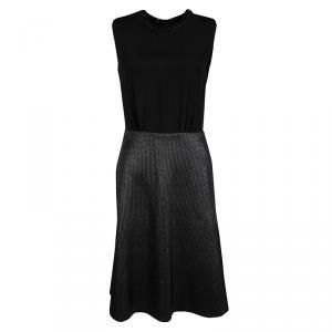 Louis Vuitton Black Leather Trim Textured Skirt Detail Sleeveless Dress S