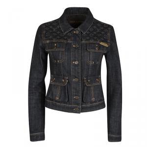 Louis Vuitton Black Monogram Shoulder Patch Detail Denim Jacket S
