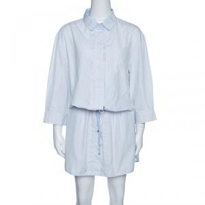 Louis Vuitton Blue and White Striped Cotton Drop Waist Tie Detail Shirt Dress XL