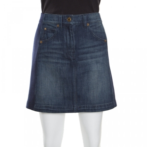 Louis Vuitton Indigo Faded Effect Denim Side Paneled Mini Skirt S