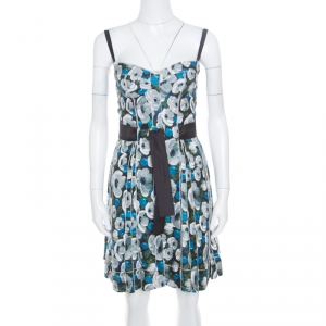 Louis Vuitton Floral Printed Silk Belted Pleated Bustier Dress S - used