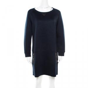 Louis Vuitton Navy Blue Knit Leather Pocket Trim Detail Long Sleeve Dress L - used