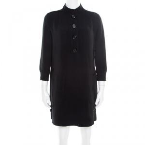 Louis Vuitton Black Crepe Knit Long Sleeve Shift Dress S - used