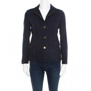 Louis Vuitton Indigo Dark Wash Denim Monogram Contrast Leather Trim Jacket M
