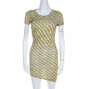 Louis Vuitton Yellow Monogram Print Cotton Ruche Detail Mini Dress S