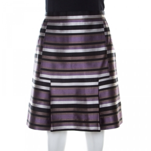 Louis Vuitton Black and Violet Silk Striped Mini Skirt M