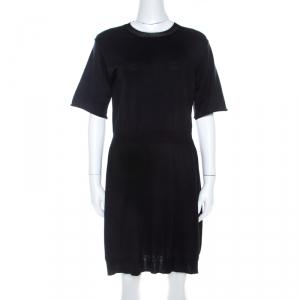 Louis Vuitton Black Cotton Silk Elasticized Waist Crew Neck Dress M