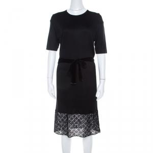 Louis Vuitton Black Stretch Knit Belted Short Sleeve Dress S