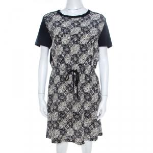 Louis Vuitton Navy Blue Jersey and Silk Printed Monogram Dress M