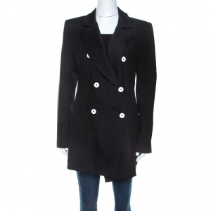 Louis Vuitton Black Silk Wool Double Breasted Blazer M