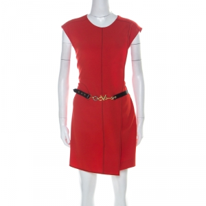 Louis Vuitton Red Crepe Sleeveless Belted Dress M