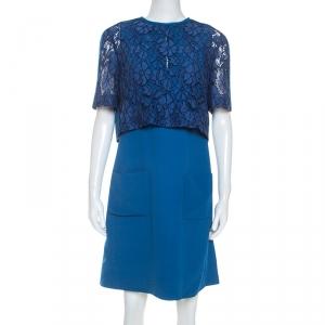 Louis Vuitton Cobalt Blue Crepe Overlay Bodice Shift Dress L