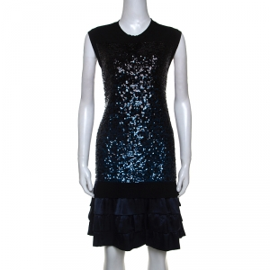 Louis Vuitton Navy Blue Cashmere and Silk Sequinned Dress M