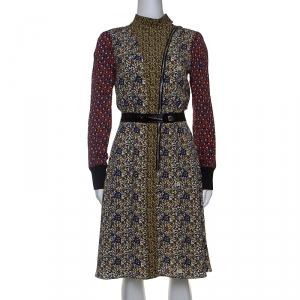 Louis Vuitton Multicolor Printed Silk High Neck Midi Dress M - used