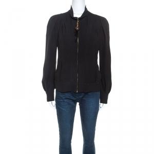 Louis Vuitton Black Silk Crepe Beaded Zip Pull Detail Jacket M