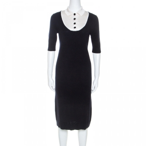 Louis Vuitton Midnight Cashmere Blue Contrast Collar Dress S - used