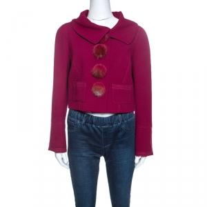 Louis Vuitton Magenta Wool Fur Button Detail Jacket L