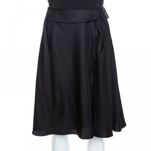 Louis Vuitton Black Silk Flared Skirt M