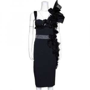 Louis Vuitton Black Embellished & Ruffled Sleeveless Dress M