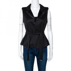 Louis Vuitton Black Silk & Cotton Lace Belted Vest Jacket M