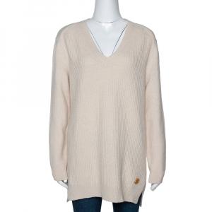 Louis Vuitton Cream Cashmere Blend Chunky Rib Knit Oversized Sweater M