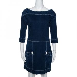 Louis Vuitton Blue Stretch Denim Mini Dress M
