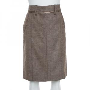 تنورة لوي فيتون مستقيمة هارينغبون صوف بيج M