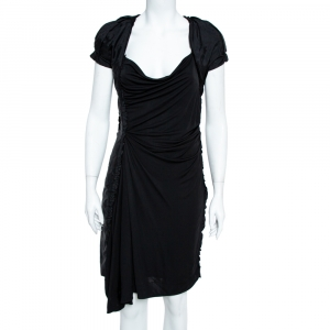 Louis Vuitton Black Jersey Ruffle Trim Ruched Dress M