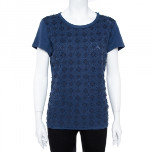 Louis Vuitton Navy Blue Linen Monogram Embroidered Top XL