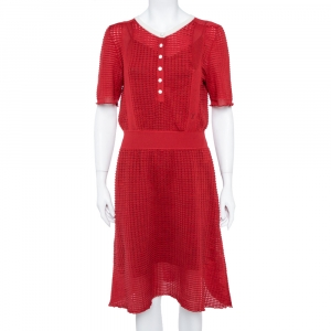 Louis Vuitton Red Rib Silk Knit Cinched Waist Dress L