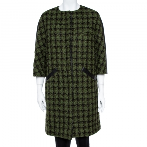 Louis Vuitton Green Tweed & Leather Trim Coat M