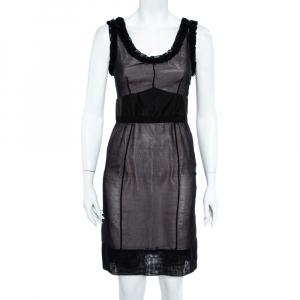 Louis Vuitton Black Silk Ruffle Detail Contrast Lined Sheath Dress S - used