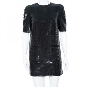 Louis Vuitton Black Sequin Embellished Short Sleeve Shift Dress M - used