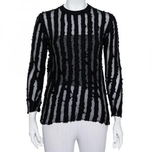 Louis Vuitton Black Wool & Mesh Striped Crewneck Sweater M - used